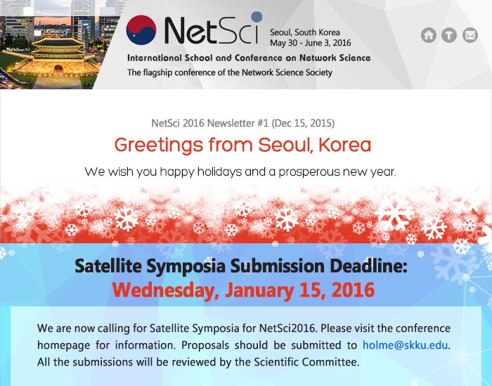 NetSci2016 :: Satellite Symposia Submission Deadline: Wednesday, January 15, 2016