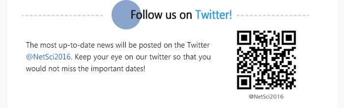 Follow us on Twitter! @NetSci2016